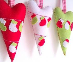 Hearts Christmas Decoration - Set of 3 - Ornaments/favors/decor