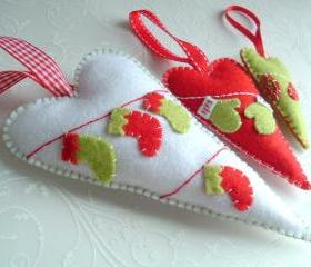 Hearts Christmas Decoration - Set of 3 - Ornaments/favors/decor/christmas tree