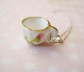 Sterling silver necklace with miniature porcelain cup - Time for tea