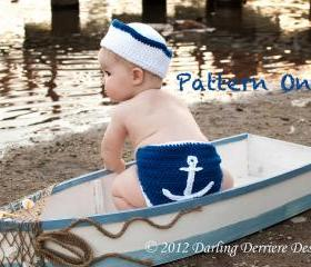Anchor Diaper Cover, Sailor Hat, and Nautical Headband Crochet Pattern