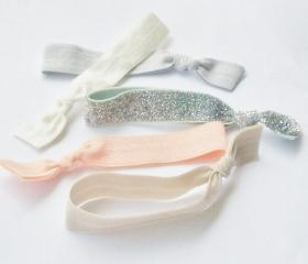 5 Hair Ties, Elastic Ribbon Hair Ties, Glitter Peach by Lucky Girl
