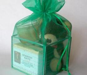 Green Organza Spa Cube Gift Set with Shea Butter Natural Soap for Birthday or Christmas Gift