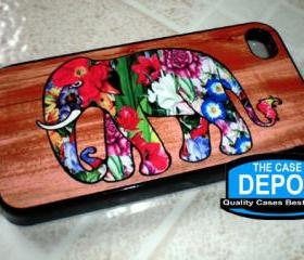 Colorful Floral Elephant wood Background Iphone 4 Hard Case, Iphone 4s Case, Iphone Case
