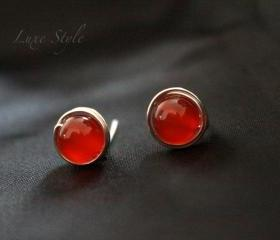 Stud Earrings Sterling silver Carnelian Healing Jewelry Red post simple wire wrapped jewelry luxe
