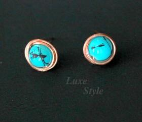 Turquoise stud Ear Rings Copper Metal Post Ear Rings Handmade Jewelry Wire Wrapped Gifts for her Luxe Style