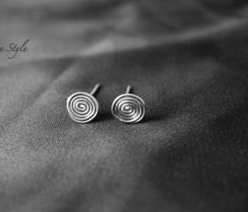 Spiral EarRings Silver Stud EarRings Metal hammered Jewelry Simple work wear Handmade Luxe Style