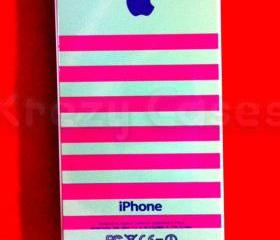 Iphone 5 Case, New iPhone 5 case Pink and pistachio stripe with apple logo iphone 5 Cover, iPhone 5 Cases, Case for iPhone 5