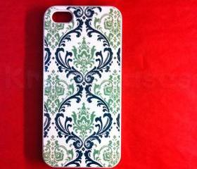 Iphone 5 Case, New iPhone 5 case Light Blue Damask Pattern phone iphone 5 Cover, iPhone 5 Cases, Case for iPhone 5