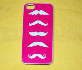 Iphone 5 Case, New iPhone 5 case - Mustache Row pink color Iphone 5 Cover, iPhone 5 Cases, Case for iPhone 5