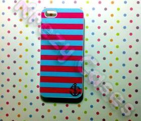 Iphone 5 Case, New iPhone 5 case - Pink and turquoise Stripe Anchor iPhone 5 Case, iphone 5 Cover , Case for iPhone 5