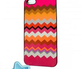 iPhone 5 Accessory Case Pumpkin and Mulberry Chevron Original Artwork
