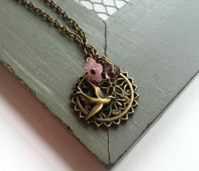 Pink Antique Bronze Bird and Flower Wreath Necklace