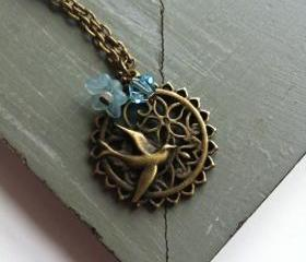 Blue Antique Bronze Bird and Flower Wreath Necklace
