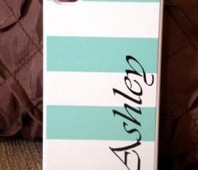iPhone 4 / 4S Mint Green Stripe Personalised Hard Case