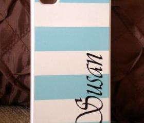 iPhone 4 / 4S Powder Blue Stripe Personalised Hard Case