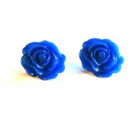 Navy Blue Cabochon Flower Earrings