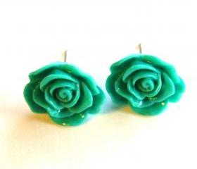 Turquoise Green Flower Stud Earrings