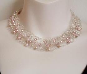 Pearl Bridal Necklace Classic Statement Jewelry Sterling Silver Wire wrapped Contemporary