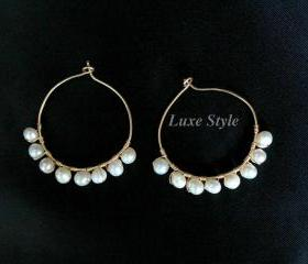 Hoop Earrings 14kt Gold Filled Classic Earrings Pearl Wire wrapped Luxe Style