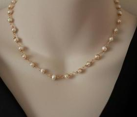 Classic Pearl Necklace Gold Filled Wire wrapped Jewelry Simple elegant