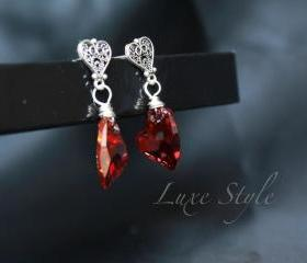 Heart EarRings Drop earrings Swarovski Red Hear magma Earrings sterling silver Love Jewelry