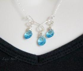 Wire wrapped pendant silver aqua blue swarovski Chain included Simple Jewelry