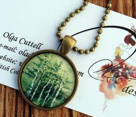 Glass Antique Bronze Pendant 'Tranquil Grove' Oladesign watercolor art green birch colourful tree round jewelry chain handmade Canadian