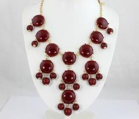 new 20mm Garnet Red Bubble jewelry set,Bubble Necklace,Bubble Earrings,Bib Jewelry Set,Statement Necklace