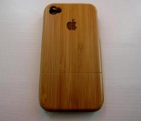 Iphone 4 case - wooden cases bamboo, cherry and walnut wood - Apple logo