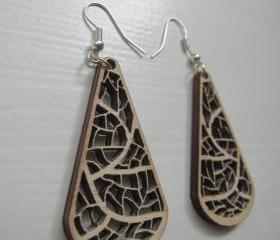 wooden laser cut earrings - organic leave nerves