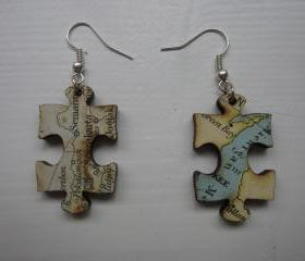 lasercut wooden map earrings - piece of the world