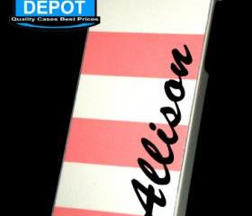 iPhone 5 Personalised Nautical Stripes Hard Case Soft Peach iPhone 5 Case