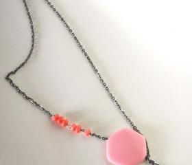 pink and black asymmetrical necklace - geometrical modern hexagonal