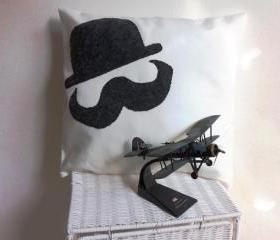 Decorative cover for pillows 'mustaches end hat' - 13 x 13 inch