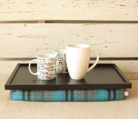 Laptop Lap Desk or Breakfast serving Tray - Black with Grey, Black and Aqua cheched plaid fabric