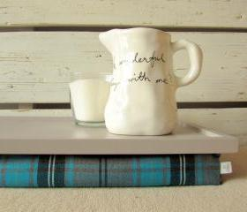Laptop Lap Desk or Breakfast serving Tray - Grey with Black, Turquoise and Grey checks