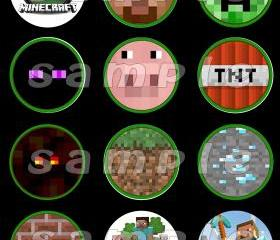 Minecraft Set of 12 2.5-Inch Round Personalized Stickers or Cupcake Toppers