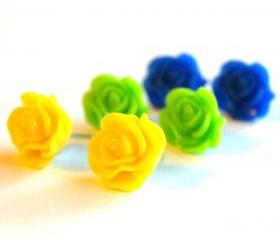 Colorful Rose Flower Stud Earrings Set