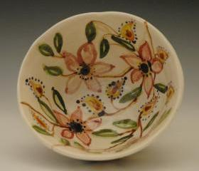Handmade Flowered Porcelain Bowl