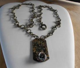 Unusual Brass dog tag Style Necklace