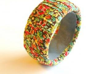 Fall Flowers and Leaves Fabric Bangle Bracelet