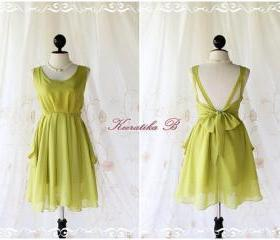 A Party - Cocktail Prom Party Dinner Wedding Night Bridesmaid Dress Lime Lemon Green Deep Back Bow Tie Gorgeous Dress
