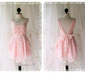 A Party Dress - V Shape Style New Back Strap Design - Cocktail Prom Party Wedding Bridesmaid Dinner Dress Light Pink Roses Lace