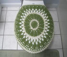 Crochet toilet seat cover or crochet toilet tank lid cover - Tea leaf/Natural (TSC11 or TTL10)