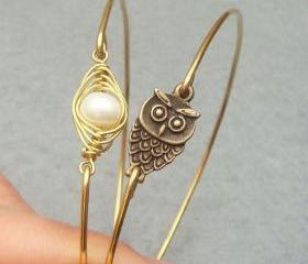 Owl and Fresh Water Pearl Bean Bangle 2 Bracelet Set