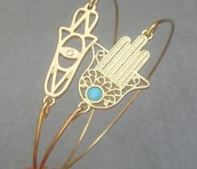 Hamsa Hands Bangle 2 Bracelet Set