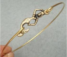 Brass Mermaid Bangle Bracelet Style 4
