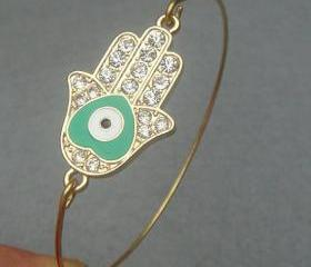 Hamsa Hand Bangle Bracelet Style 10