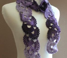 Crochet Scarf Queen Annes Lace Ombre Varigated Multicolor Purple