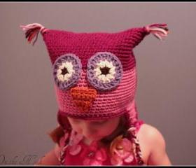 Crochet Owl Hat with Earflaps